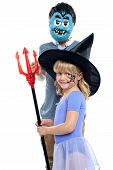 picture of prank  - Young brother and sister in Halloween costume are ready to play a prank - JPG