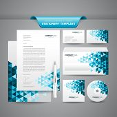 image of letterhead  - Complete set of business stationery template such as letterhead - JPG