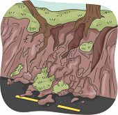 pic of landslide  - Illustration of Trees Left Clinging to Partially Eroded Soil After a Landslide - JPG
