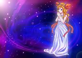 stock photo of manga  - Manga style illustration of zodiac sign on cosmic background - JPG