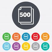 500 sheets sign icon