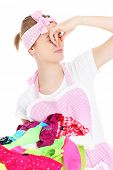 foto of stinky  - A picture of a young woman holding stinky laundry over white background - JPG