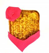 stock photo of french beret  - Slice of french toast with beret and scarf on a white background - JPG