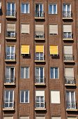 Facade of apartment block in Budapest, Hungary.