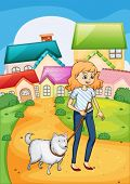 foto of stroll  - Illustration of a woman strolling with her dog - JPG