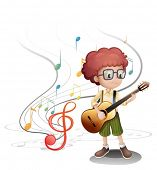 pic of g-string  - Illustration of a young musician playing a guitar on a white background - JPG