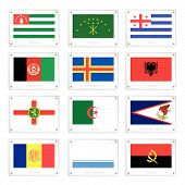 picture of samoa  - Flags of Abkhazia Adygea Adjara Afghanistan Aland Islands Albania Alderney Algeria American Samoa Andorra Altai Republic and Angola on Metal Texture Plates - JPG