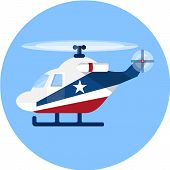 picture of rescue helicopter  - A vector icon of a helicopter., flat illustration
