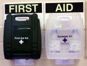 foto of workplace accident  - Wall mounted First Aid point comprising of fist aid kit and eye wash station - JPG