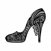 stock photo of stilettos  - Vector Decorative Ornate Women - JPG
