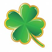 stock photo of emerald  - vector green shamrock badge on white background - JPG