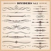 stock photo of divider  - Set of vector vintage calligraphic design elements and page decoration dividers and dashes - JPG
