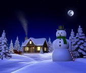 stock photo of winter scene  - A Christmas themed snow scene showing Snowman Cabin and snow sleigh at night - JPG