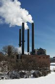 Steam power plant on the Mississippi river, Minneapolis, Minnesota, USA