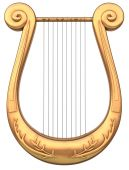 foto of musical instruments  - A stringed lyre musical instrument on a white background - JPG