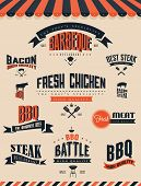stock photo of bbq food  - Bbq Grill Elements And Labels   - JPG