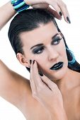 Beautiful Woman In Black Glamour  Makeup