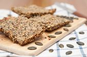 pic of home-made bread  - Home made Whole Grain Crispbread with pumpkin seeds