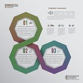 image of octagon  - Abstract illustration of color infographic elements with 3 options - JPG