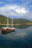 stock photo of brigantine  - Chic yacht is moored near the coast covered with forest - JPG