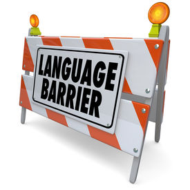 stock photo of dialect  - Language Barrier Words Sign Interpret Message Meaning Translation - JPG