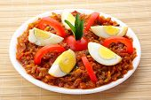 stock photo of kadai  - Egg roast,curry or masala served in white plate ** Note: Visible grain at 100%, best at smaller sizes - JPG