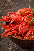 picture of crawfish  - Bowl of fresh boiled crawfish on the old wooden background