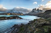 One of the main destination in south Patagonia, the beautiful National Park Torres del Paine, Patago poster