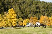 image of motor coach  - Fall Colors in an RV campground in the Black Hills - JPG