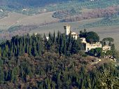 Medieval castle on top of a hill in Chianti, Tuscany poster