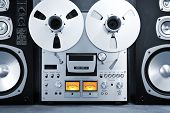 pic of analogy  - Analog Stereo Open Reel Tape Deck Recorder Vintage Closeup - JPG