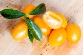 image of kumquat  - fresh kumquat just picked over wooden baclground - JPG