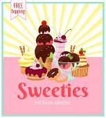stock photo of sweetie  - Sweeties retro poster design with a colorful array of ice cream  cakes  cookies  donuts  and cupcakes over a pink background with yellow rays and text  - JPG