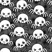 stock photo of kawaii  - Seamless halloween kawaii cartoon pattern with cute spiders - JPG
