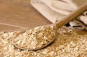 Oats On Rustic Spoon