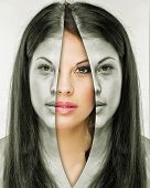 picture of female mask  - Woman behind the mask before and after makeup - JPG