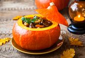 image of stew  - Beef stew with vegetables  in pumpkin - JPG