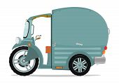 stock photo of rickshaw  - Funny cartoon cargo auto rickshaw or tuktuk - JPG