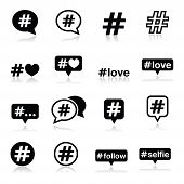 stock photo of hashtag  - Vector icons set of hashtag isolated on white - JPG