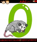 picture of opossum  - Cartoon Illustration of Capital Letter O from Alphabet with Opossum Animal for Children Education - JPG