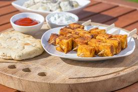 stock photo of raita  - Paneer Tikka Kebab  - JPG