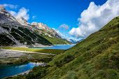 image of lagos  - Lago di Fedaia in the Dolomites mountains of northern Italy - JPG