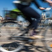 stock photo of zurich  - Zurich cityscape with motion blurred city traffic - JPG