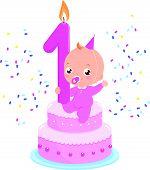 picture of birthday  - Birthday cake baby girl - JPG