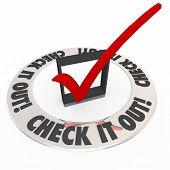 foto of inspection  - Check It Out words on a check box and mark inside a ring telling you to inspect or explore an area or topic - JPG