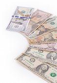 image of twenty dollar bill  - Close up of different dollar bills - JPG