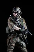 image of pistols  - United States Army ranger with pistol on dark background - JPG