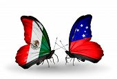picture of samoa  - Two butterflies with flags on wings as symbol of relations Mexico and Samoa - JPG