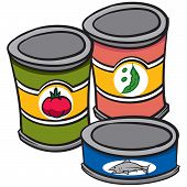 image of cans  - An Illustration of three cans of food - JPG