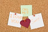 picture of avow  - I Love You call me and sorry note pinned to a cork memory bulletin board - JPG